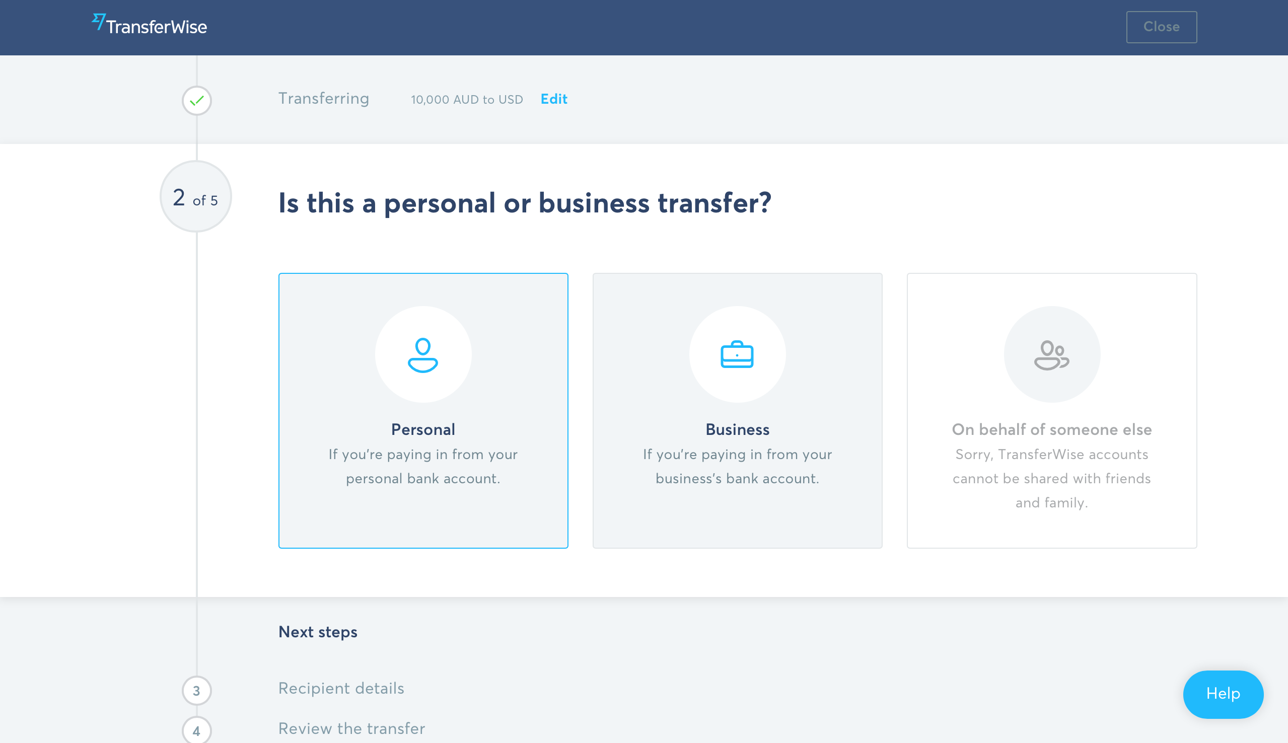 Types of online transfer personal business for someone else