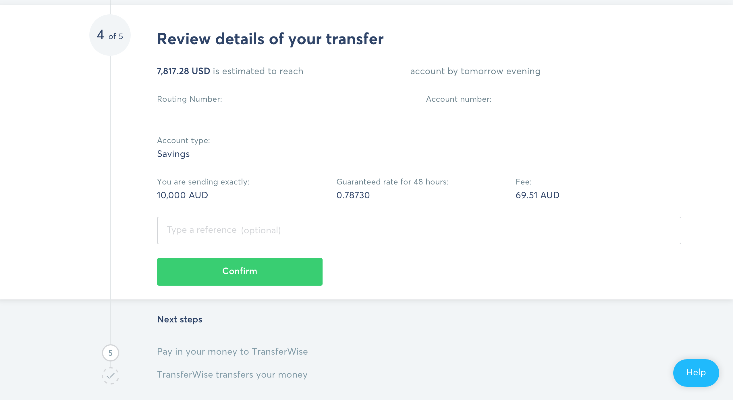 How to send money overseas with TransferWise Step 6