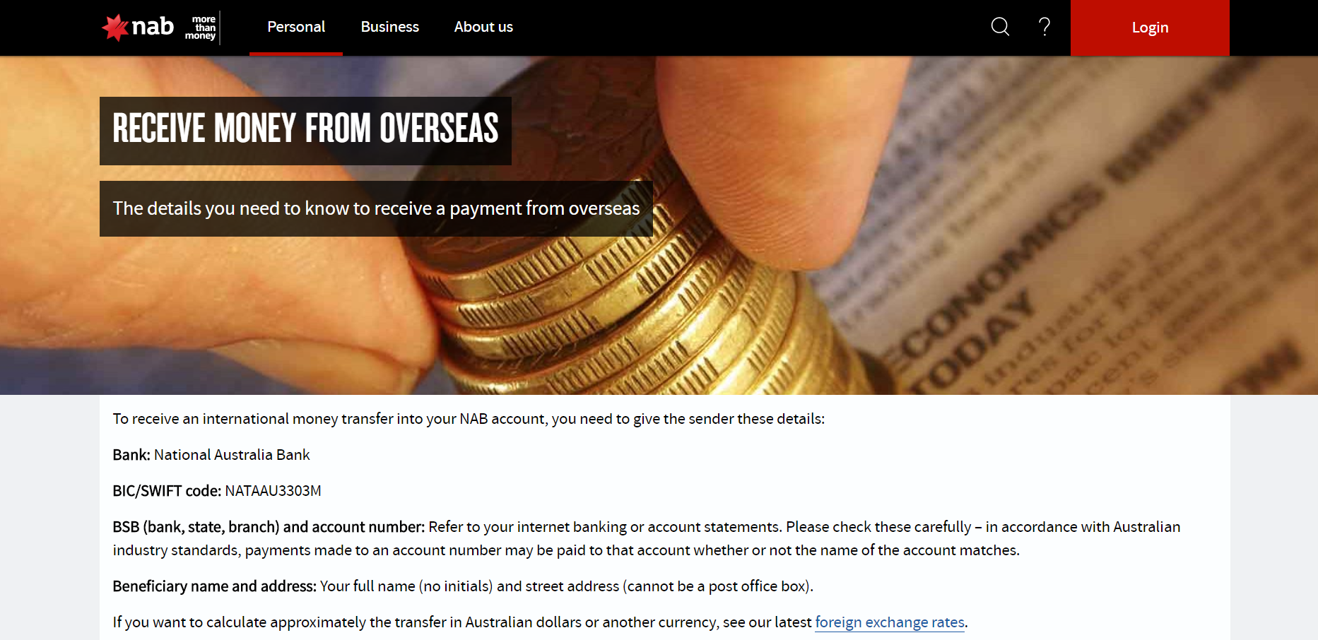 How to Receive Money From Overseas Using The National Australia Bank