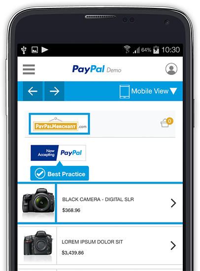 Paypal page on phone