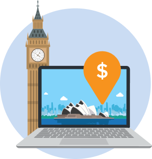Image UK clock and laptop showing Sydney to illustrate How to Open an Australian Bank Account Online from Overseas
